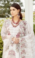 Embroidered Chiffon front with sequins– 30 inch Embroidered Chiffon back – 30 inch Embroidered Chiffon sleeves – 1.25 Meter Embroidered tissue sleeves lace pasting with patches –1.25 Embroidered tissue ghera lace – 1.5 Meter Embroidered Chiffon dupatta – 2.50 Meter Raw Silk trouser – 2.5 Meter Embroidered tissue trouser patch