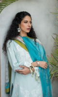 • Digital Embroidered Cambric Shirt, • Digital Silk & Embroidered Chiffon Dupattas, • And Trousers.