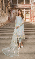 Embellished front with printed back giving an optimistic touch to the elegant look. Hints of embroidery on the dupbatta makes it one of the most coveted looks in this collection.