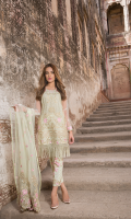 Intricate geo-formal embroided lawn. Shirt paired with embroided net dupbatta and dyed cambric trouser with patches. Secret garden offers the smart blend of floral tones.