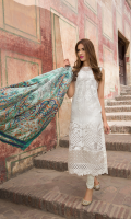 Embroidered  Jacquard Shirt                                            2.5 Meters  Jacquard Sleeve                                                                         0.67 Meter  Embroidered HEM Extension Front & Back  Embroidered Sleeve Border  Digital Printed Silk Dupatta                                               2.5 Meters  Plain White Cambric Trouser                                            2.5 Meters