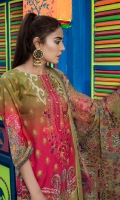 Shirt: Digitally Printed  Finest Embroidered Lawn  Dupatta: Digitally Printed krinkle Chiffon   Trouser: High Quality Dyed Premium
