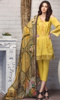 Shirt: Lawn  (Machine Embroidered) Dupatta: Chiffon (Digital Print)  2.5 Meter Trouser: Cotton 2.5 Meter