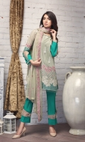 3pc Unstitched Swiss Lawn Embroidered With Chiffon Dupatta  Shirt: Lawn Swiss (Machine & Hand Embroidered)  Dupatta: Chiffon  2.5 Meter  Trouser: Cotton 2.25 Meter