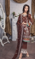 Shirt: Lawn (Machine Embroidered) Dupatta: Chiffon (Machine Embroidered) 2.5 Meter Trouser: Cotton 2.25 Meter