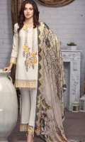 Shirt: Lawn Swiss (Machine Embroidered) Dupatta: Chiffon (Digital Print) 2.5 Meter Trouser: Cotton 2.25 Meter