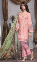 3pc Unstitched Swiss Lawn Embroidered With Dupatta Chiffon Shirt: Lawn Swiss (Machine & Hand  Embroidered)  Dupatta: Chiffon 2.5 Meter  Trouser: Cotton 2.25 Meter