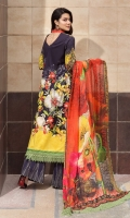 Shirt: Print Lawn 3 meter. Dupatta: Printed silk 2.5 meter. Trouser: Cotton 2.5 meter.