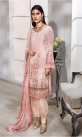 EMBROIDERED CHIFFON SHIRT, DUPPATA & RAW SILK TROUSER