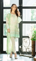 Shirt: Lawn embroidey 3 meter. Dupatta: Embroidered Chiffon 2.5 meter. Trouser: Cotton 2.5 meter.