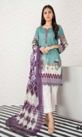 Digital Printed Lawn Shirt Digital Printed Silk Dupatta Dyed Trouser