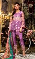 Embroidered Net Front Embroidered Net Back Embroidered Net Sleeves Net Embroidered border Digital Printed pure Chinese Crinkle chiffon Dupatta Crepe trouser