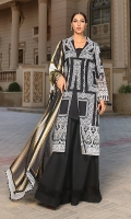 Front: full embroidered on lawn. Back: Digital print. Front Daman Patch: 2pc embroidered on organza Sleeves: 1pc embroidered on lawn. Dupatta: 2.5-meter digital print on silk. Trouser: 2.5 meter on cambric