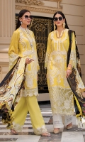 Front: full embroidered on lawn Back: digital print on lawn Back daman patch: 2pc on organza embroidered. Front daman Patch: 1pc on organza embroidered. Front daman boarder: 2pc on organza embroidered. Sleeves: digital print on lawn Sleeve's patch: 1pc on organza embroidered. Dupatta: 2.5-meter digital print on silk Trouser patch: 1pc on organza embroidered. Trouser: 2.5-meter cambric