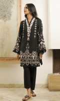 A striking black shawl piece, embroidered with tribal and Art Deco motifs, finished with playful organza and beaded details.