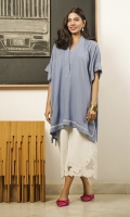 A trendy box-cut kurta in a denim blue colour, finished with delicate white embroidery and pintucks on the shoulder.