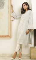 An ice-blue shawl fabric kurta, embroidered with pastel floral motifs and pleated details.