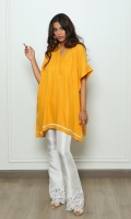A trendy box-cut kurta in an ocher colour, finished with delicate white embroidery and pintucks on the shoulder.