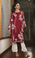 Your perfect day-to-night piece; our scarlet shawl kurta embroidered with baby pink and vanilla motifs.