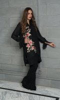 A black shawl kurta embroidered with floral motifs, featuring a fun tie-sleeve detail.