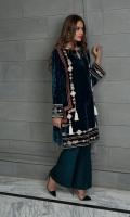 A teal coloured velvet kurta featuring tribal motifs and fun tassles.