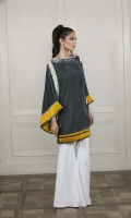 A gorgeous slate grey velvet kurta with bell sleeves. Featuring accents of contrast ocher fabric and cream embroideries, this piece is a head-turner.