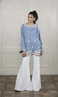 An eye-catching perriwinkle blue velvet kurtat with pastel details, a worked neckline and pearl drops.