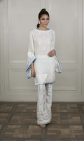 A stunning white embroidered shawl kurta featuring kimono sleeves, finished with sky-blue pleated and satin details.