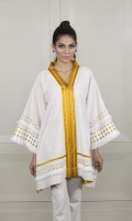 This stunning high-low khaddar-silk kurta in shades of cobalt, mustard and cream is simultaneously chic and edgy.