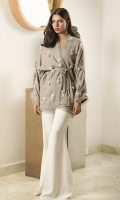 A dove-grey shawl fabric wrap top, embellished with pearl and feather details.