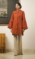 A rust-orange khaddar kurta embellished with fringes, pleats and pintucks, in a flattering box-cut shape.
