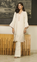 A cream shawl-fabric kurta embroidered with feminine pastel motifs, finished witht pintucks, pearls and satin loop-details.