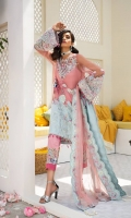 A pretty Japanese motif pink and ice blue embroided satin swing shirt heavy worked of crystals and pearls paired with embroided patch pants and scalloped dupuatta with cotton silk slip.