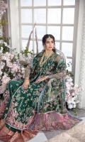 A flared kalidar heavily composed and handworked on the minute details 'Emerande' is perfect for the intimate wedding season. It is paired with a heavily composed dupatta with scenic embroidered pallus. It is layered over a hand screen printed sharara.