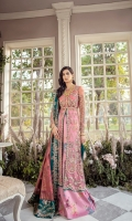 Our most sought after design, 'Jolie' is flared front open gown with exquisite embroidery and handwork. It is paired with a lush pink printed kathan silk sharara, styled with a minutely detailed hand screen printed dupatta and is finished with contrasting teal borders.