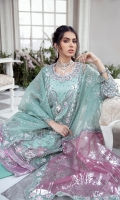 Presenting the breathtaking ' La'brise', inspired by the modern era this design embodies a mint green tulle base with exquisite color pallete layered with silver tilla and hand work. It's is finished with a lavender satin border and is styled with an embroidered dupatta with foil pallu.