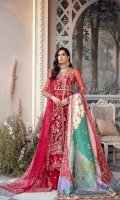 'La Mariee' is an epitome of the festive season. It quotes an exquisite silhouette on a crimson ruby red base, with pretty and delicate embellishments and detailed flamboyant embroidery composition. The ensemble is with a tulle embroidered dupatta and a kathan printed shawl bedazzled with pearls and swarovskis.