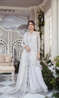 With winters comes the dusky grey 'le Voile'. Flamboyant paneled organza shirt featuring a blend of florals and Egyptian elements beautifully handworked with pearls and swarovskis. It is paired with a lush velvet flared pants and densely sprayed swarovskis dupata finished with an alluring embroidered border.