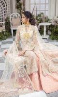 Harmonizing the pastel hues, Du' soleil encompasses amalgamation of Chinese motifs and modern silhouette. Featuring hand work and extensive embroidery on a front open panelled shirt paired with a gold hand screen salmon pink flared pants and a heavily composed dupatta.