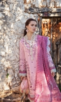 1-Embroiderd Shirt front+back+sleeves 2.20 meter 2-Embroidered Hem border 1.30 meter 3-Sleeve border 1.30 meter 4-Back neck patch 1PC 5-Embroiderd Trouser 2.5 meter 6-Jacquard Organza Dupatta 2.5 meter
