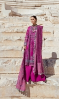 1-Embroiderd Front panel 3PCS 2-Embroidered Sleeves 0.50 meter 3-Back screen printed 1 meter 4-Back Neckline 1PC 5-Hem Border 1.30 meter 6-Sleeve border 1.30 meter 7-Trouser border 1.30 meter 8-Plain Trouser 2 meter 9-Embroider woven Dupatta 2.5 meter