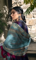 Screen printed Shawl 2.50m Embroidered Shirt/Front Karandi 1m Dyed Shirt back Karandi 1m Embroidered Sleeves Karandi 0.50m Embroidered Hem border Organza 1.5m Embroidered Cuff border Organza 1.1m Embroidered Trouser border Organza 1.5m Embroidered back Neckline 1PC Embroidered side extensions Satin 1PC Dyed Trouser Karandi 2.50m