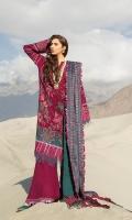 Digital printed Shawl with embroidery 2.70m Embroidered Shirt front Karandi 1m Dyed Shirt back Karandi 1m Embroidered Sleeves 0.50 m Embroidered Hem border Organza 1.5m Embroidered Cuff border Organza 1.1m Embroidered Trouser border Organza)1.3m Embroidered back Neckline Organza 1PC Dyed Trouser Karandi 2.50m