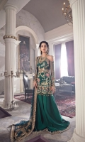 Emerald green embroidered net Shirt 2.8 Yards Net hem border 2 yards Sleeve border 2pcs Front & Back bodies fabric .75 Yards Front & Back Dupatta satin borders 10 Yards Net foil Dupatta 2.75 Yards Trouser fabric 2.75 Yards Neckline Patti Slip fabric 2.5 Yards