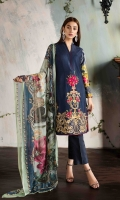 EMBROIDERED FRONT PRINTED BACK AND SLEEVES CHIFFON PRINTED DUPATTA PLAIN TROUSER
