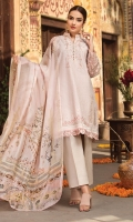 LAWN EMBROIDERED FRONT LAWN EMBROIDERED BACK ORGANZA EMBROIDERED SLEEVES ORGANZA EMBROIDERED BORDER FOR FRONT AND BACK ORGANZA EMBROIDERED BORDER FOR SLEEVES MEDIUM SILK PRINTED DUPATTA PLAIN TROUSER