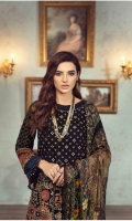 Lawn Embroidered Front Lawn Embroidered back Lawn Embroidered sleeves  Embroidered Border for Front Embroidered Border for back Embroidered Border for sleeves Printed border for sleeves Lawn printed facing Crinkle chiffon printed dupatta  Plain trouser