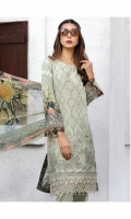 LAWN EMBROIDERED FRONT LAWN PRINTED BACK LAWN PRINTED SLEEVES LAWN EMBROIDERED BORDER FOR FRONT CRINKLE CHIFFON PRINTED DUPATTA PLAIN TROUSER