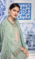 Chiffon Embroidered Front Chiffon Embroidered Extension for Front Chiffon Embroidered Back Chiffon Embroidered Sleeves Organza Embroidered Border for Front and Back Organza Embroidered Border for Sleeves Chiffon Embroidered Dupatta Chiffon Embroidered Pallu for Dupatta Plain Trouser