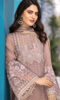 Chiffon Embroidered Front Chiffon Embroidered Back Chiffon Embroidered Sleeves Organza Embroidered Border for Sleeves Chiffon Dyed Dupatta with Embroidered Pallu Plain Trouser